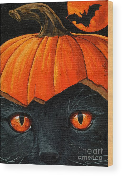 Black Cat Wood Print featuring the painting Bats In The Belfry by Linda Apple