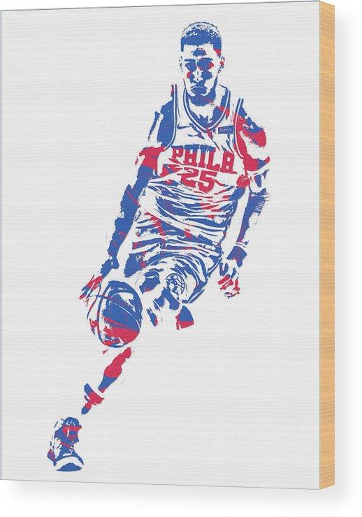 Ben Simmons Wood Print featuring the mixed media Ben Simmons Philadelphia Sixers Pixel Art 1 by Joe Hamilton