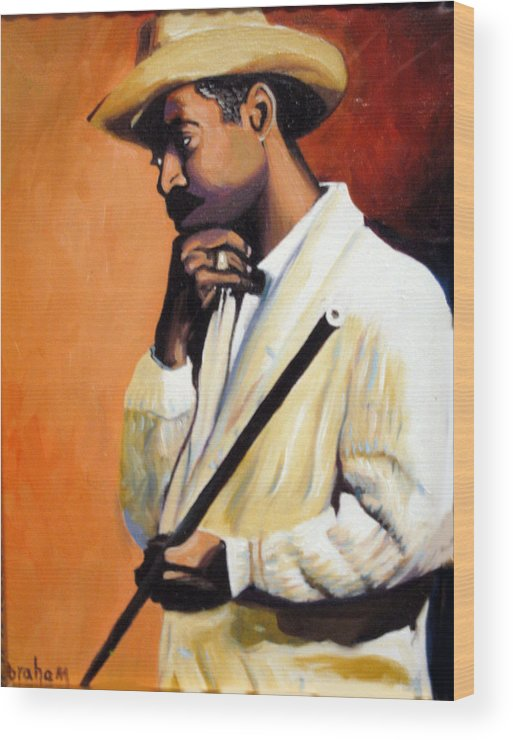 Cuban Art Wood Print featuring the painting Benny 2 by Jose Manuel Abraham