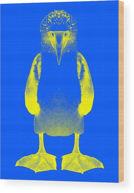 Digital Design Wood Print featuring the digital art Blue Booby by Daniel House