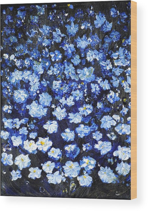 Flowers Wood Print featuring the painting Blue Flowers by Evelina Popilian