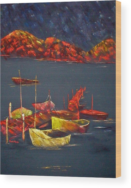Boat Wood Print featuring the painting Boats At Nightfall by Rhonda Myers