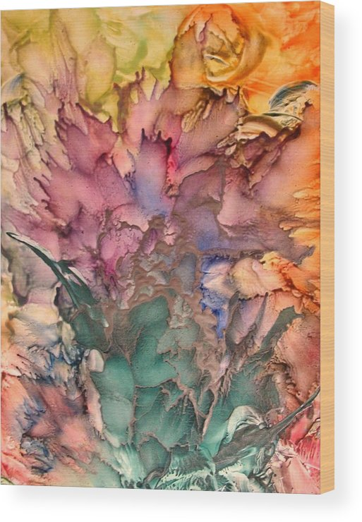 Abstract Wood Print featuring the painting Bouquet by John Vandebrooke