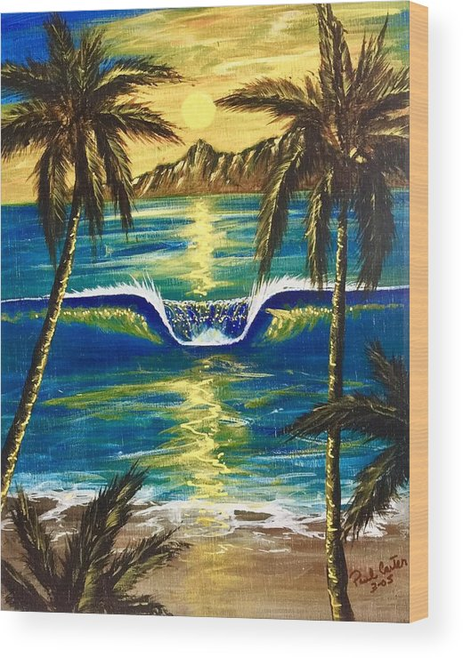 Tropical Wood Print featuring the painting Breathe In The Moment by Paul Carter