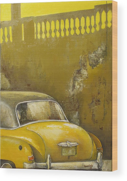 Havana Wood Print featuring the painting Buscando La Sombra by Tomas Castano