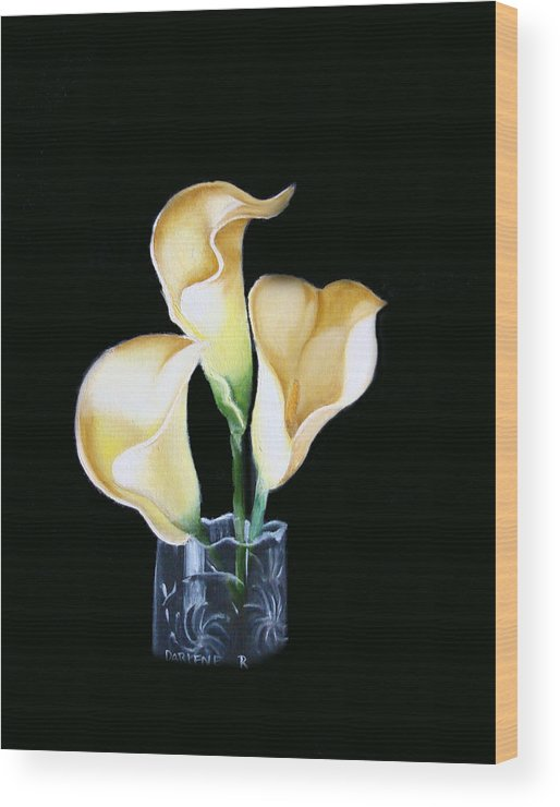 Calla Lilies Wood Print featuring the painting Calla Lily by Darlene Green
