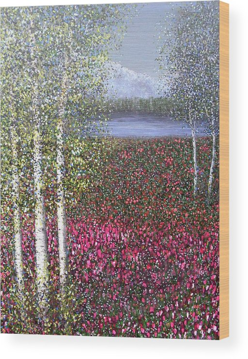 Quaking Aspen Trees Landscape Birch Wood Print featuring the painting Calm Yet Quaking by Sally Van Driest