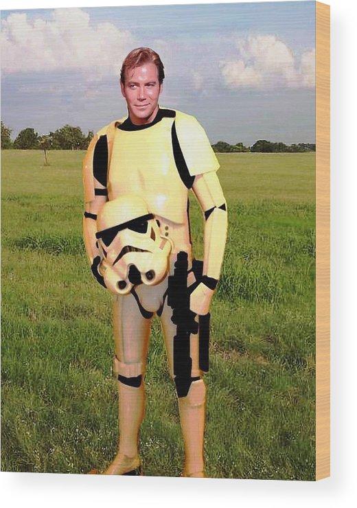 Star Wars Wood Print featuring the painting Captain James T Kirk Stormtrooper by Paul Van Scott