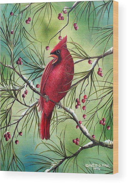 Cardinal Wood Print featuring the painting Cardinal by David G Paul
