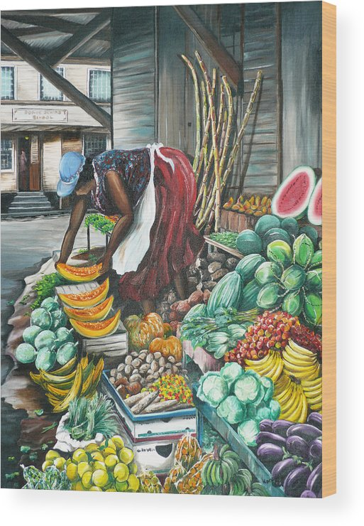 Caribbean Painting Market Vendor Painting Caribbean Market Painting Fruit Painting Vegetable Painting Woman Painting Tropical Painting City Scape Trinidad And Tobago Painting Typical Roadside Market Vendor In Trinidad Wood Print featuring the painting Caribbean Market Day by Karin Dawn Kelshall- Best