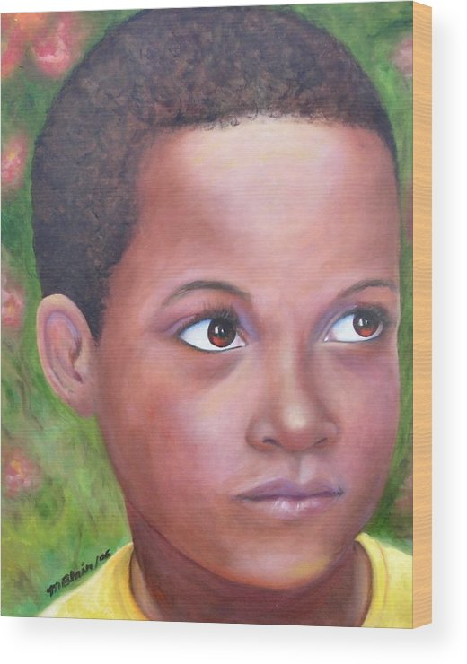 Children Wood Print featuring the painting Caribe Child by Merle Blair