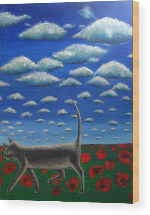 Cat Wood Print featuring the painting Cat Who Walks Alone by Aliza Souleyeva-Alexander