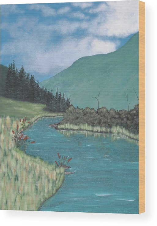 Landscape Wood Print featuring the painting Cattails by Candace Shockley