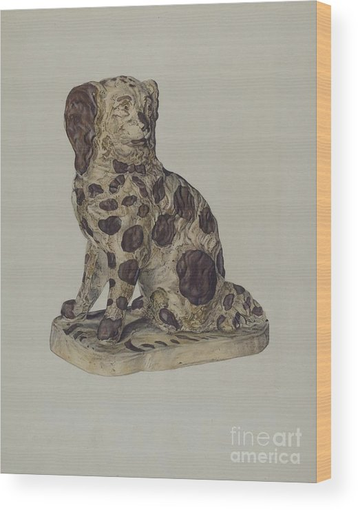 Wood Print featuring the drawing Ceramic Coach Dog by George Yanosko