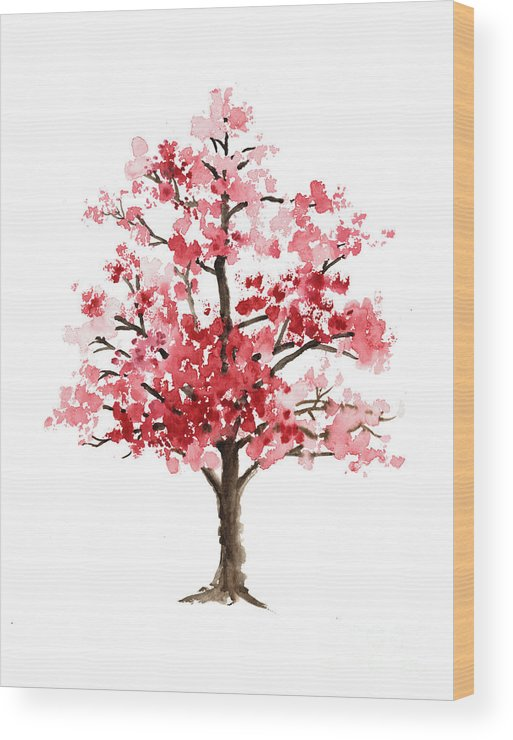 Abstract Wood Print featuring the painting Cherry Blossom Tree Minimalist Watercolor Painting by Joanna Szmerdt