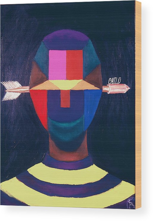 Black Wood Print featuring the painting Child by Malik Seneferu