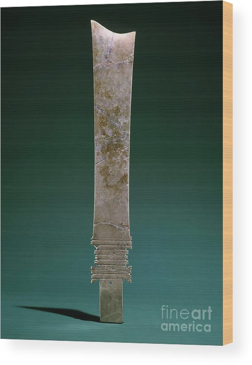 Ancient Wood Print featuring the photograph China: Jade Blade by Granger