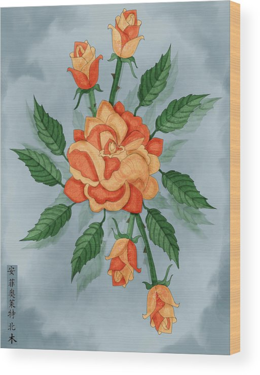 Floral Wood Print featuring the painting Christ And The Disciples Roses by Anne Norskog