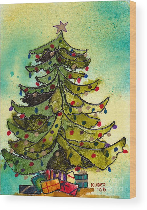 Christmas Wood Print featuring the painting Christmas Morning 2008 by Susan Kubes