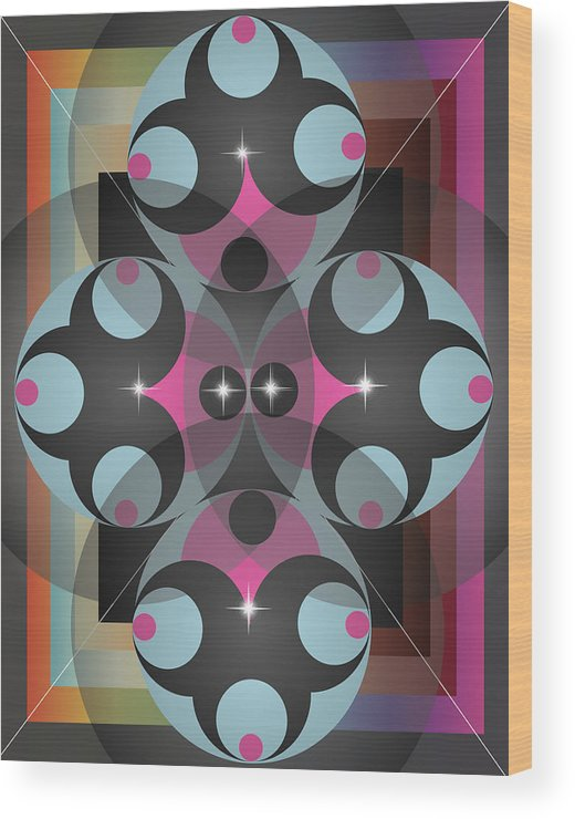 Abstract Wood Print featuring the digital art Circles by George Pasini