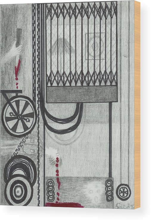 Elevator Wood Print featuring the drawing Claude Harvey's Death. by Ingrid Szabo
