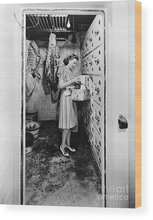 1940 Wood Print featuring the photograph Cold Storage Room, C1940 by Granger