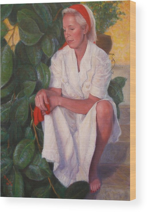Realism Wood Print featuring the painting Contemplation by Donelli DiMaria