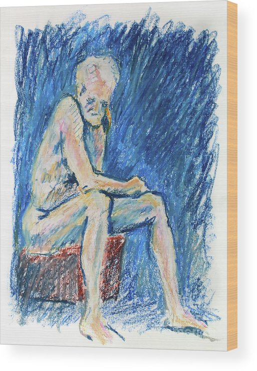 Adam Long Wood Print featuring the drawing Contemplative A Nude Male Oil Pastel Drawing In Blue by Adam Long