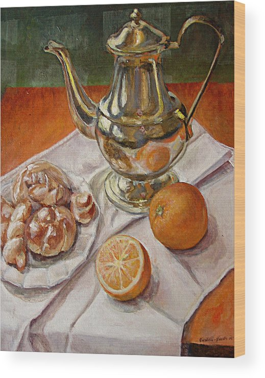 Continental Breakfast Wood Print featuring the painting Continental Breakfast by JoAnne Castelli-Castor