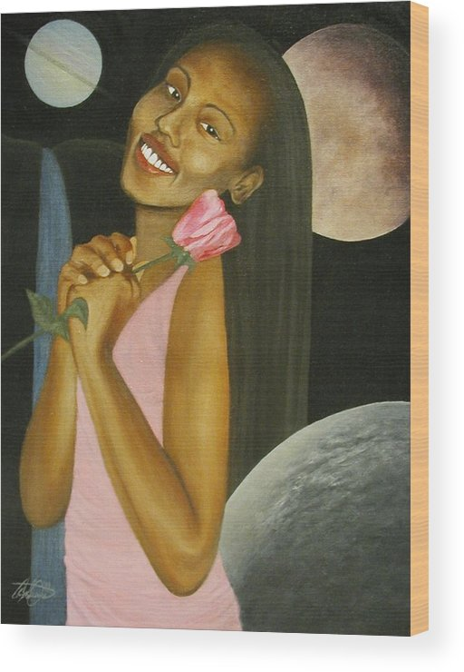 Portrait Wood Print featuring the painting Cosmic Queen Courtney by Angelo Thomas