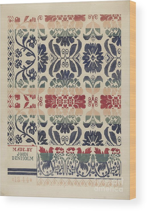 Wood Print featuring the drawing Coverlet by Dorothy Posten