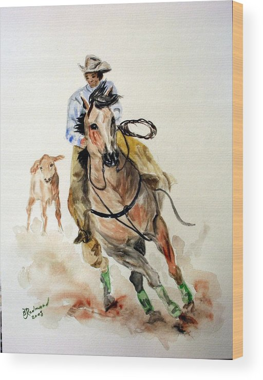 Cowboy Wood Print featuring the painting Cowboy by BJ Redmond
