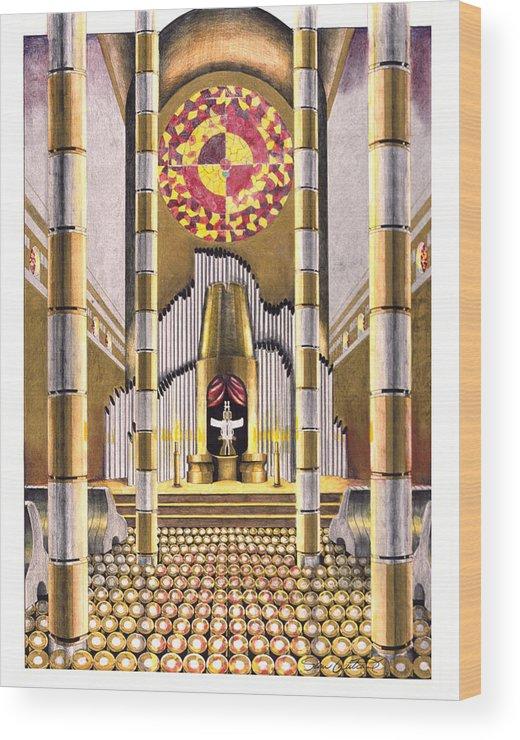 Church Wood Print featuring the drawing Cross Hair by Sean Gautreaux