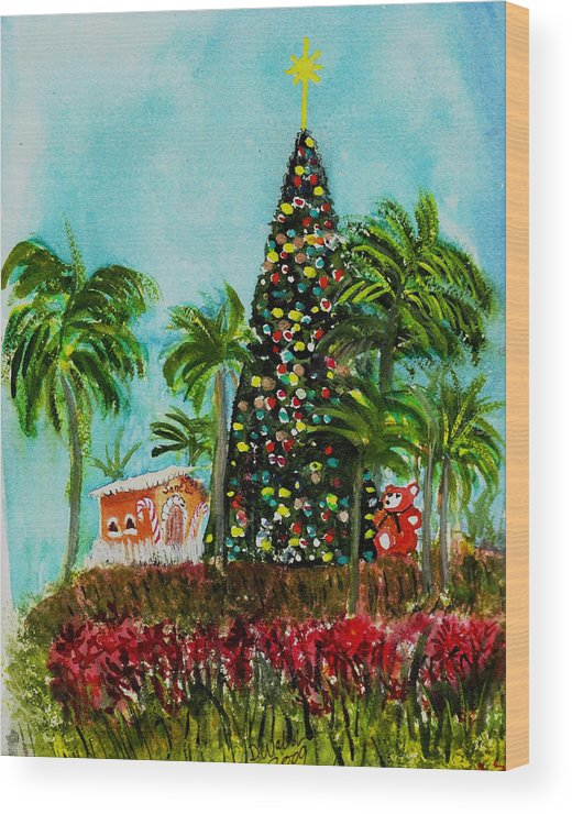 Delray Beach Wood Print featuring the painting Delray Beach Christmas Tree by Donna Walsh