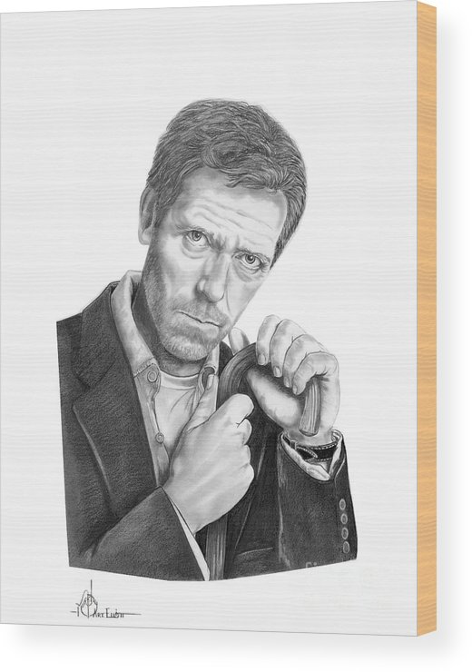 Drawing Wood Print featuring the drawing Dr. House Hugh Laurie by Murphy Elliott