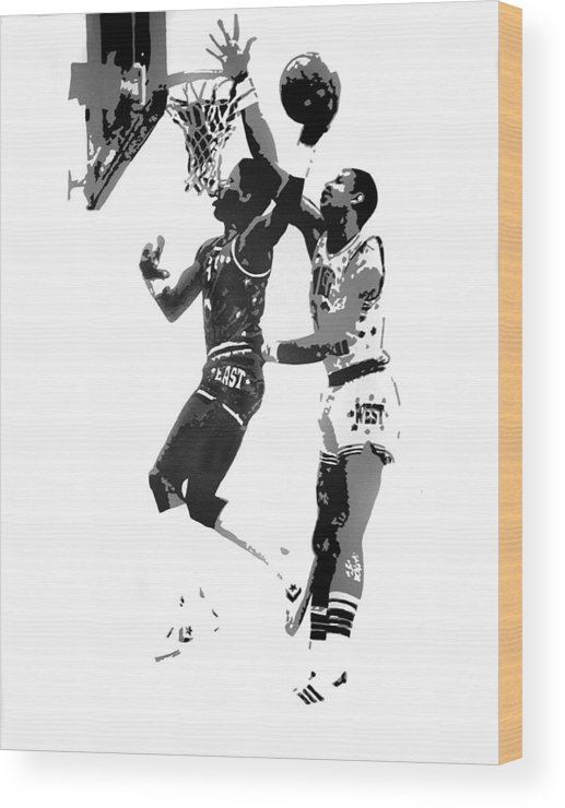 Basketball Wood Print featuring the painting Dr. J And Kareem by Ferrel Cordle