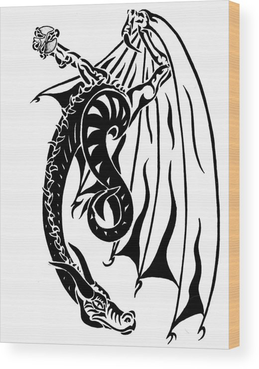 Dragon Wood Print featuring the drawing Dragons Orb by Robert Kimball