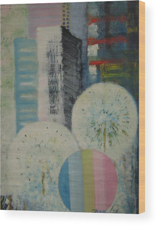 Landscape Wood Print featuring the painting Dream City No.8 by Lian Zhen