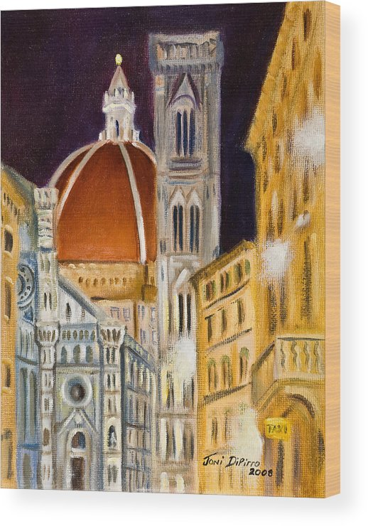 Duomo Wood Print featuring the painting Duomo At Night by Joni Dipirro