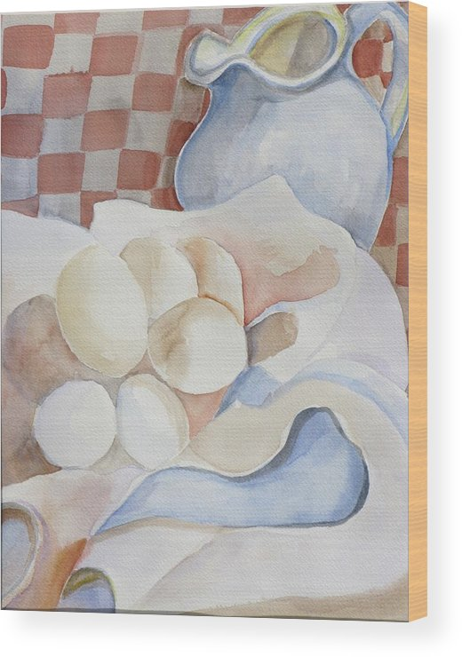 Still Life Wood Print featuring the painting Eggs With Pitcher by Kathy Mitchell