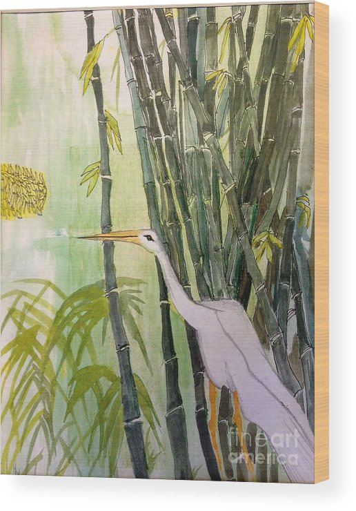 Bird Egret-bamboo Wood Print featuring the painting Egret by Hal Newhouser