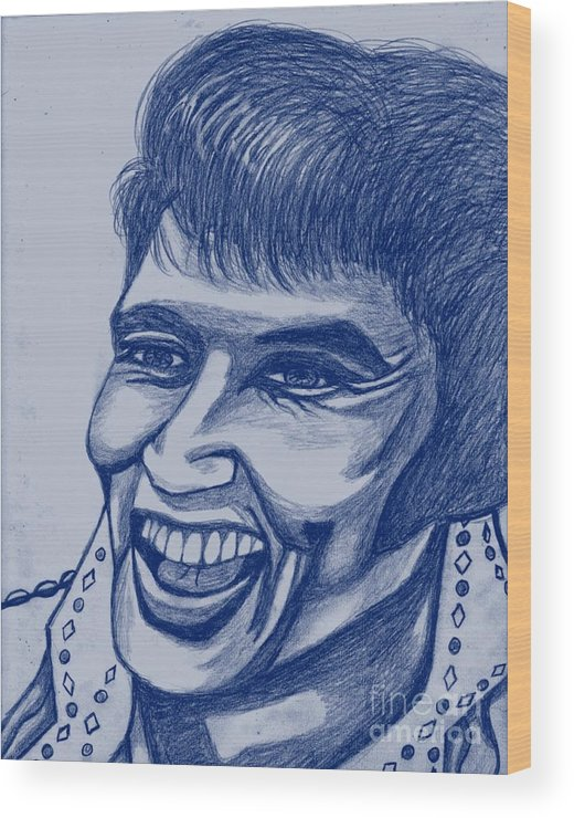 Star Wood Print featuring the painting Elvis In Blue by Richard Heyman