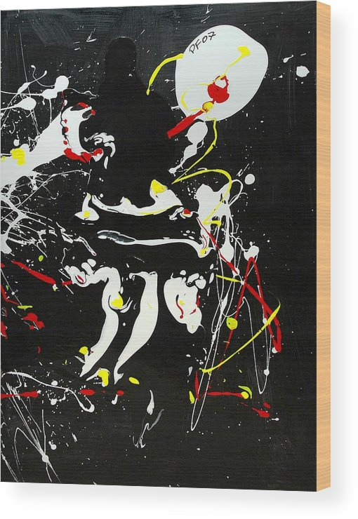 Abstract Wood Print featuring the painting Encounter by Paul Freidin