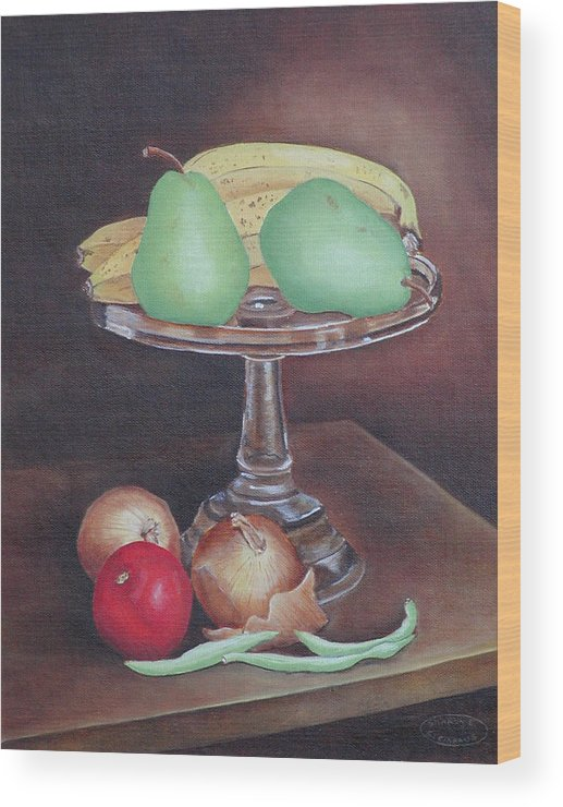 Still Life Wood Print featuring the painting Essentials by Sharon Steinhaus