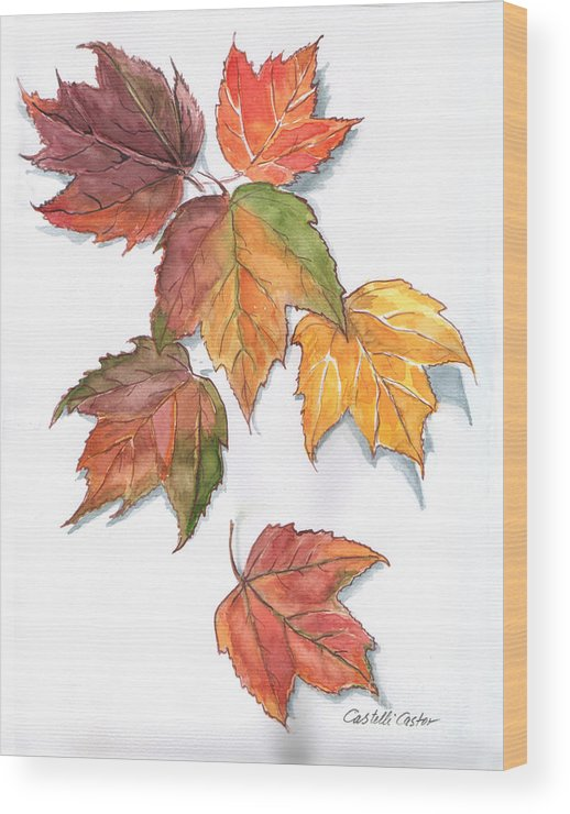 Leaves Wood Print featuring the painting Falling Leaves by JoAnne Castelli-Castor