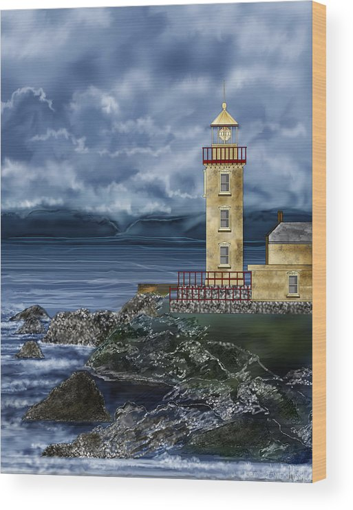 Lighthouse Wood Print featuring the painting Fanad Head Lighthouse Ireland by Anne Norskog