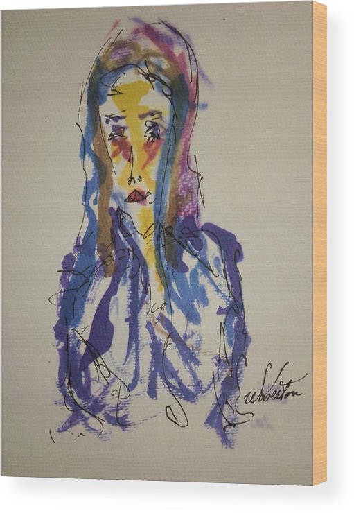 Portrait Wood Print featuring the painting Female Face Study I by Edward Wolverton