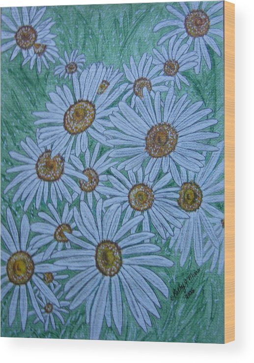 Field Wood Print featuring the painting Field Of Wild Daisies by Kathy Marrs Chandler