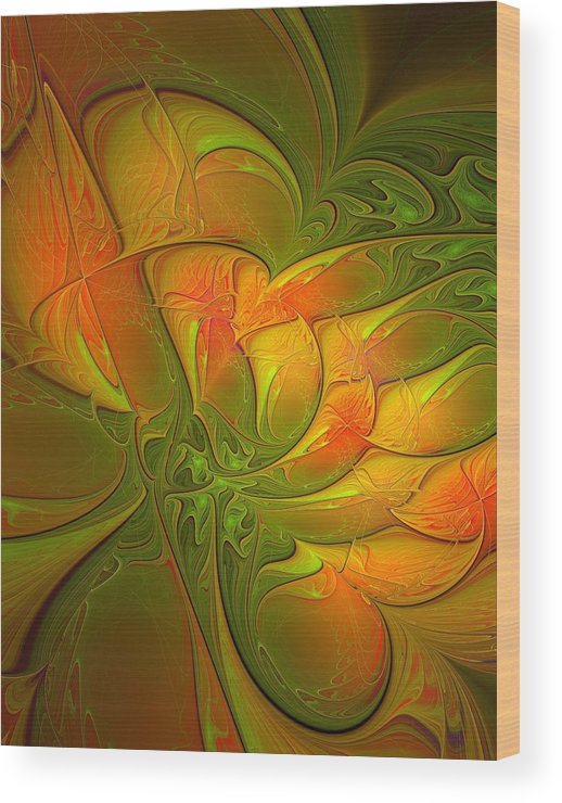 Digital Art Wood Print featuring the digital art Fiery Glow by Amanda Moore