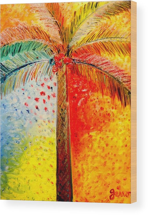 Palm Tree Art Wood Print featuring the painting Fig Palm Sunset by Helen Gerro
